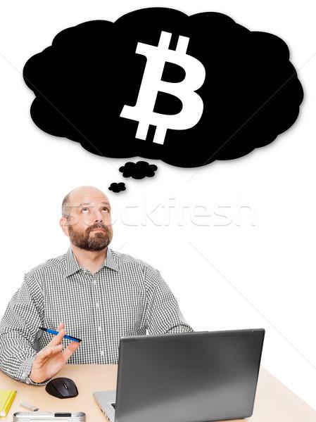 Homem de negócios pensando bitcoin investimento imagem bonito Foto stock © magann
