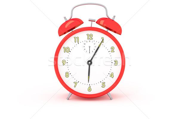 Stock photo: red alarm clock
