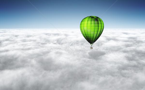 Ballon afbeelding mooie groene boven wolken Stockfoto © magann