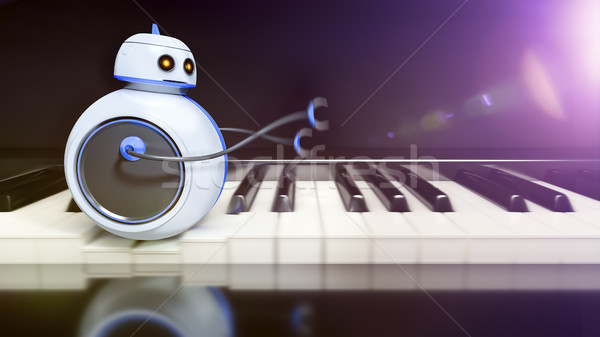 sweet little robot runs over piano key Stock photo © magann