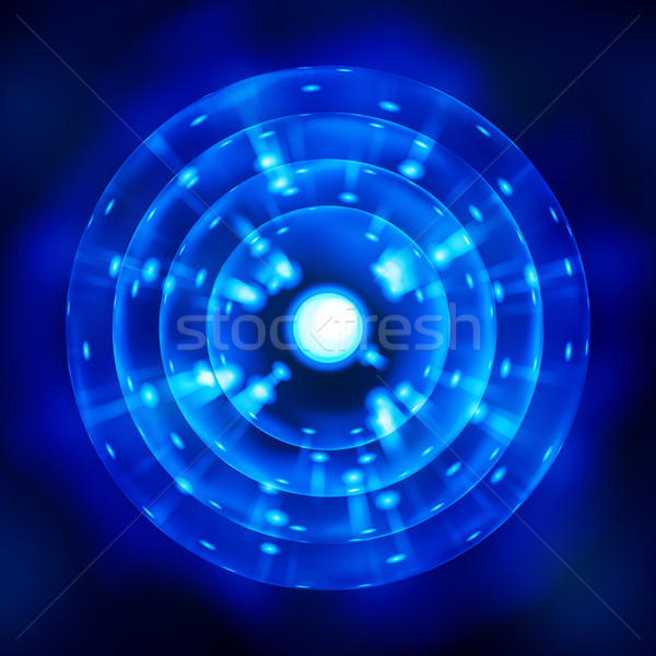 a stylized blue atom symbol Stock photo © magann