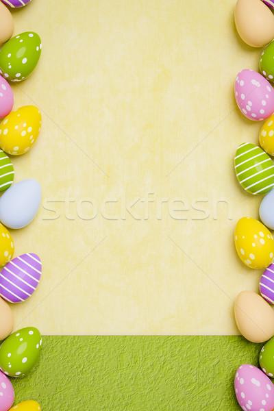 Belle oeufs colorés Pâques 3d illustration fond vert Photo stock © magann