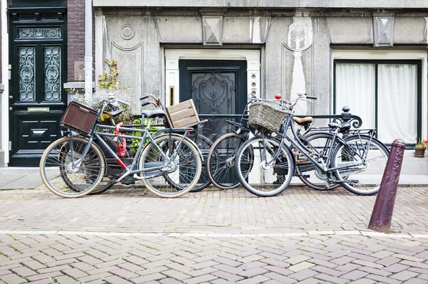 Vier fietsen Amsterdam afbeelding stad straat Stockfoto © magann