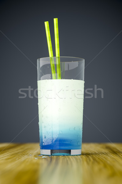 Vreemd Blauw drinken 3D voedsel Stockfoto © magann