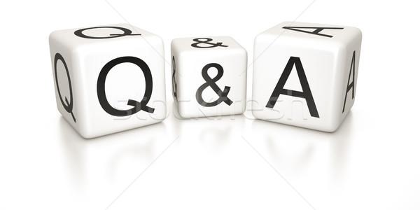 Domande risposte immagine bianco nero dadi business Foto d'archivio © magann