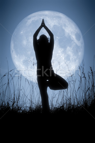 Yoga pallido luna immagine pretty woman grande Foto d'archivio © magann
