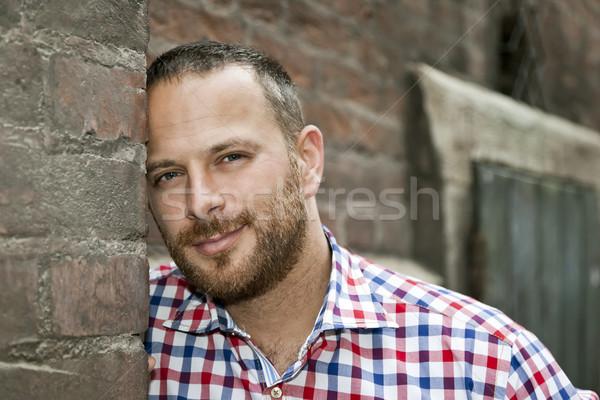 Adam sakal görüntü yakışıklı adam gülümseme yüz Stok fotoğraf © magann