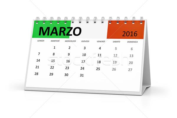 Stock photo: italian language table calendar 2016 march