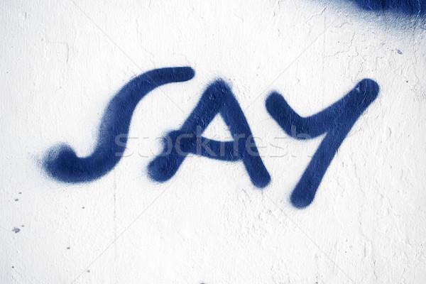 Graffiti szó kép egyszerű háttér kék Stock fotó © magann