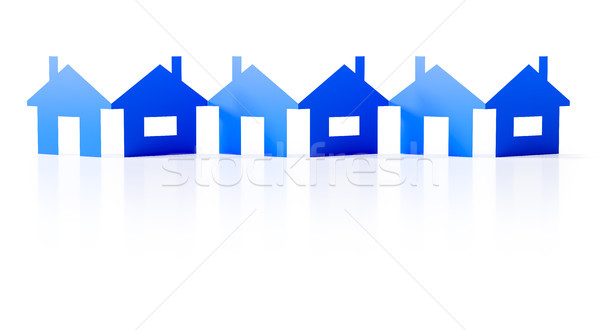a paper cutout row of blue houses background Stock photo © magann
