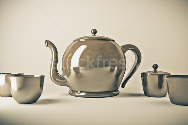 Demlik çay fincanı görüntü içmek çay hizmet Stok fotoğraf © magann