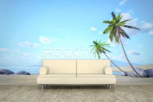 photo wall mural palm beach sofa floor Stock photo © magann