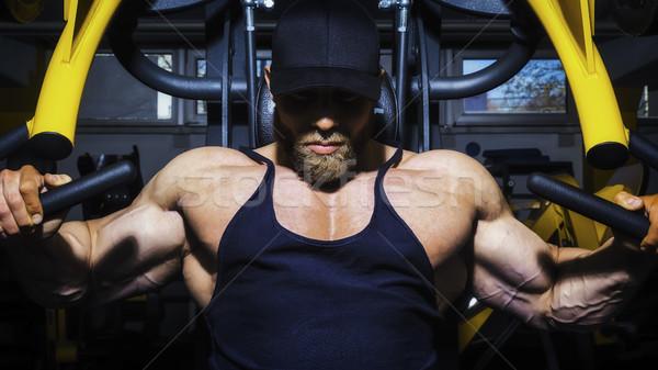 ハンサム あごひげを生やした ボディービル 男 画像 胸 ストックフォト © magann