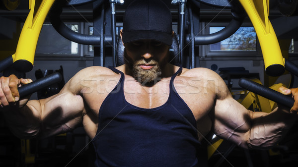 élégant barbu bodybuilding homme image poitrine Photo stock © magann
