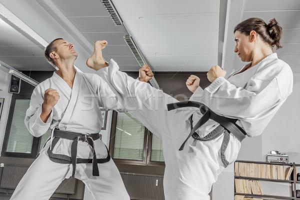 Küzdősportok mester kép nő férfi sport Stock fotó © magann