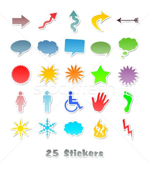 ストックフォト: 25 · 異なる · ステッカー · デザイン · 画像 · 光