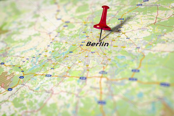 Stock fotó: Térkép · Berlin · kép · Németország · forrás · papír