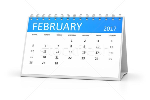 blue table calendar 2017 february Stock photo © magann
