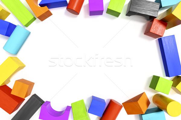 Colorato blocchi spazio contenuti illustrazione 3d costruzione Foto d'archivio © magann