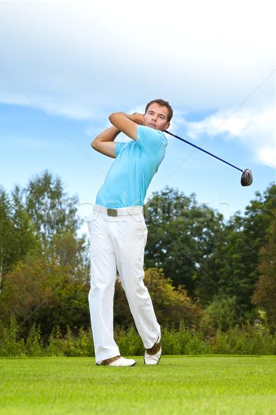 Jogador de golfe imagem jovem masculino homem madeira Foto stock © magann