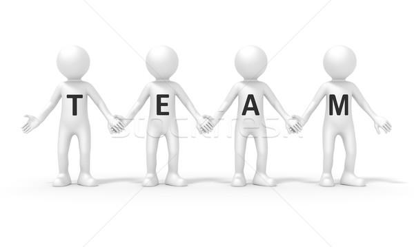 Négy személy csapat kép áll kéz nő Stock fotó © magann