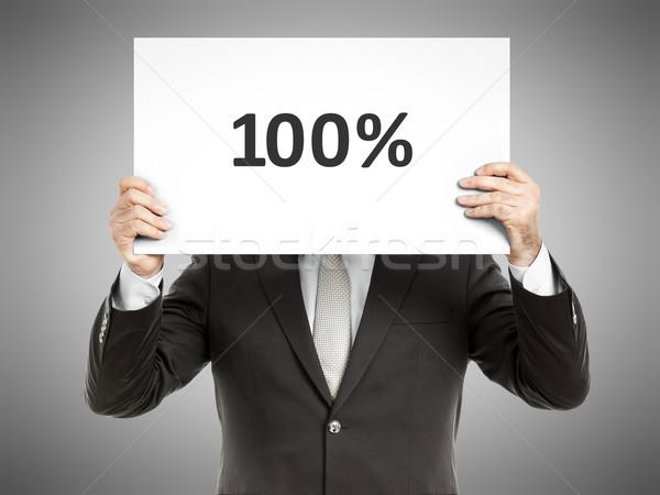 Zakenman bericht papier gezicht tekst Stockfoto © magann