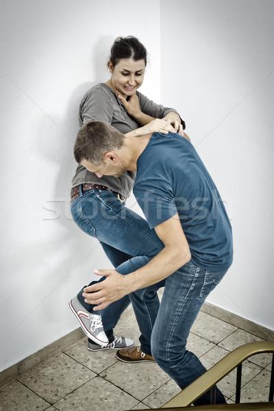 Genç kadın erkek kadın model çift sanat Stok fotoğraf © magann
