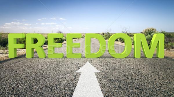 Drogowego horyzoncie wolności obraz 3d tekst działalności Zdjęcia stock © magann