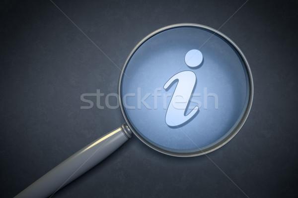 Nagyító információ jel keresés felirat kék klasszikus Stock fotó © magann