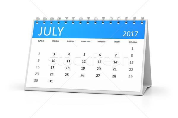 blue table calendar 2017 july Stock photo © magann