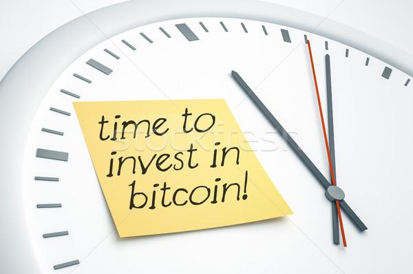 Reloj nota adhesiva tiempo bitcoin 3d brillante Foto stock © magann