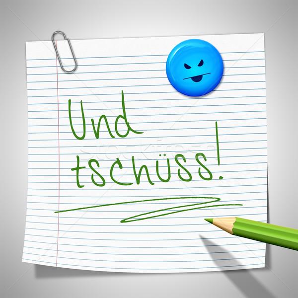 Kâğıt mesaj bye ofis gülümseme arka plan Stok fotoğraf © magann
