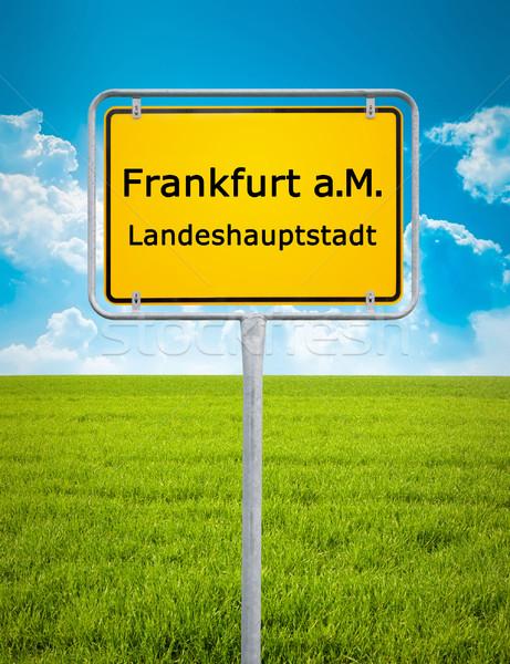 город знак Франкфурт изображение автомобилей трава Сток-фото © magann