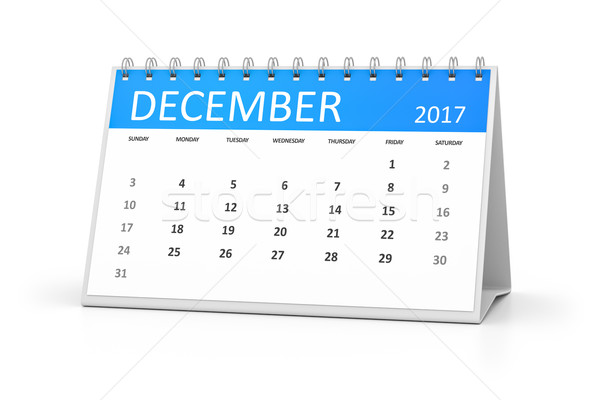 blue table calendar 2017 december Stock photo © magann