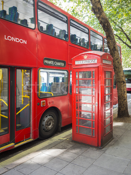a red bus and typical phone box of London Stock photo © magann