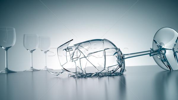 Kırık şarap kadehi görüntü dondurulmuş zaman su Stok fotoğraf © magann
