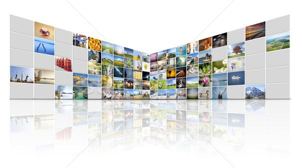 100 videowall futuristische internet televisie achtergrond Stockfoto © magann