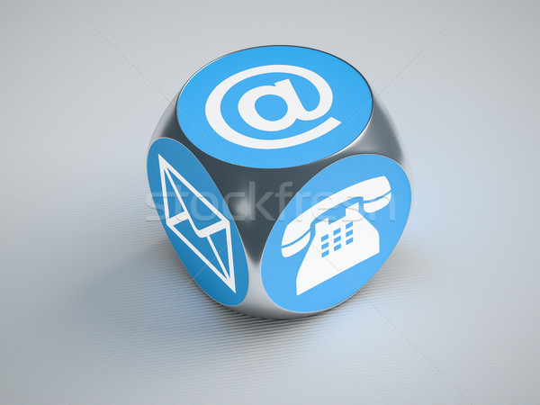 turquoise cube with signs for email phone and letter Stock photo © magann
