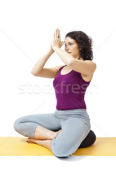 Yoga vrouw afbeelding mooie vrouw meisje gelukkig Stockfoto © magann