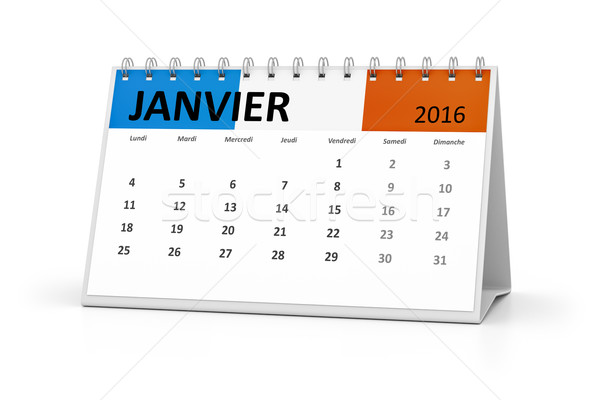 Stock photo: french language table calendar 2016 january