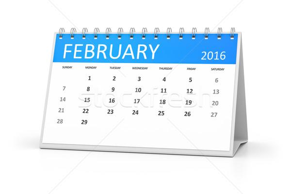 blue table calendar 2016 february Stock photo © magann