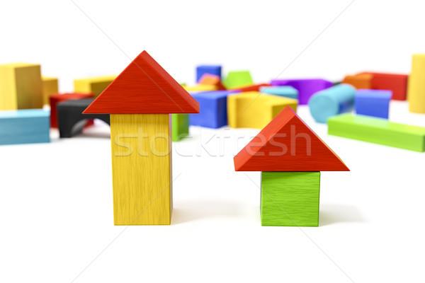 красочный блоки 3d иллюстрации древесины зеленый синий Сток-фото © magann