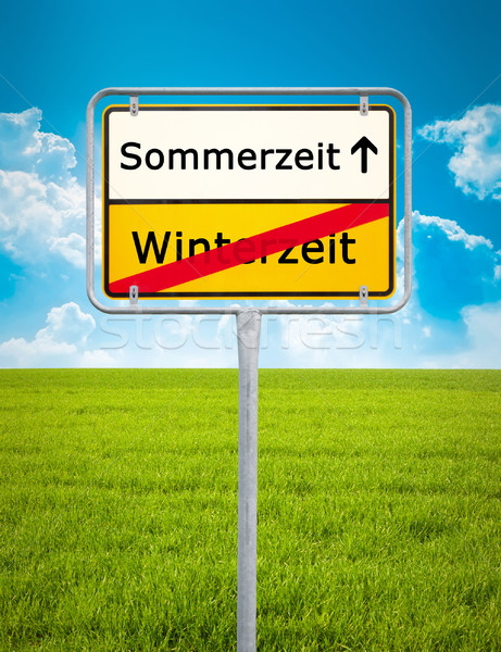 Daylight Saving german city sign Stock photo © magann