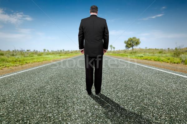 Drogowego horyzoncie obraz tekst sukces działalności Zdjęcia stock © magann