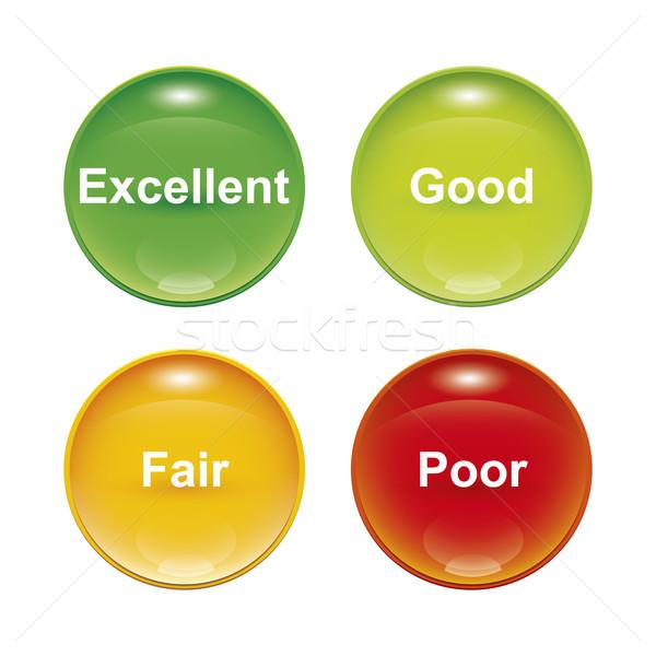 Exame quatro ícones vermelho amarelo Foto stock © magann