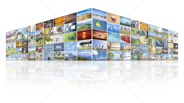 100 videofal futurisztikus internet televízió háttér Stock fotó © magann