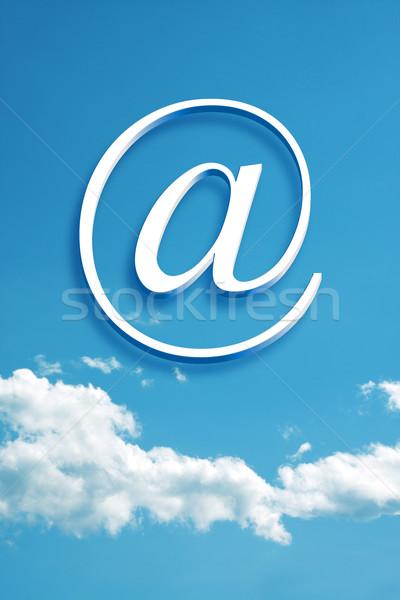 Blanche nuage photographie 3D fond signe Photo stock © magann