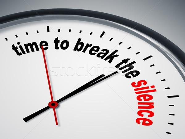Tiempo romper silencio imagen agradable reloj Foto stock © magann