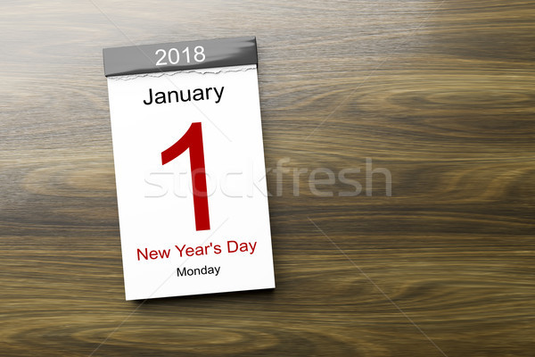 Calendar the 1st of January 2018 New Year's Day Stock photo © magann