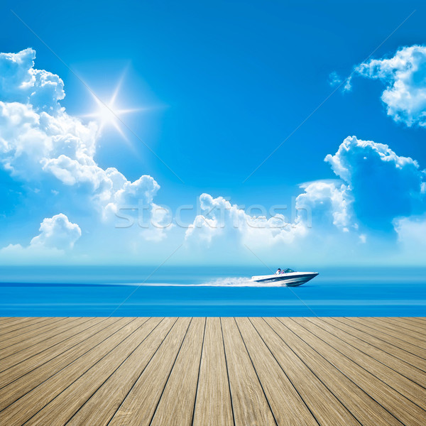 wooden jetty speed boat Stock photo © magann